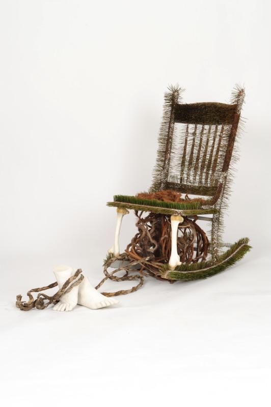 Presence of Absence - Pine Chair, pine needles, kangaroo bone, hide, white cement, muslin, dimensions 1.3m x 50cm, 2016 Image - Nu Image.jpg