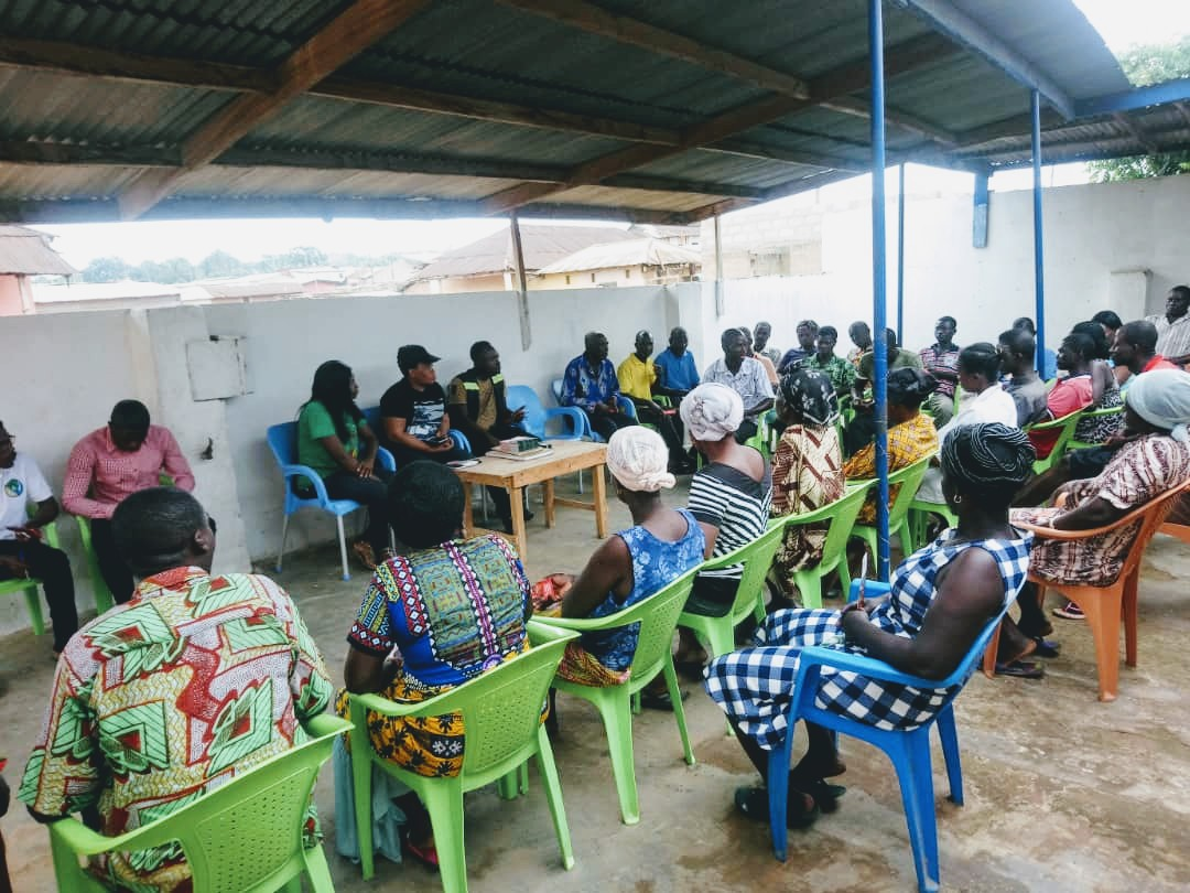 mfarmpay Inc. team interacting with vegetable farmer cooperative in Central Region, Ghana