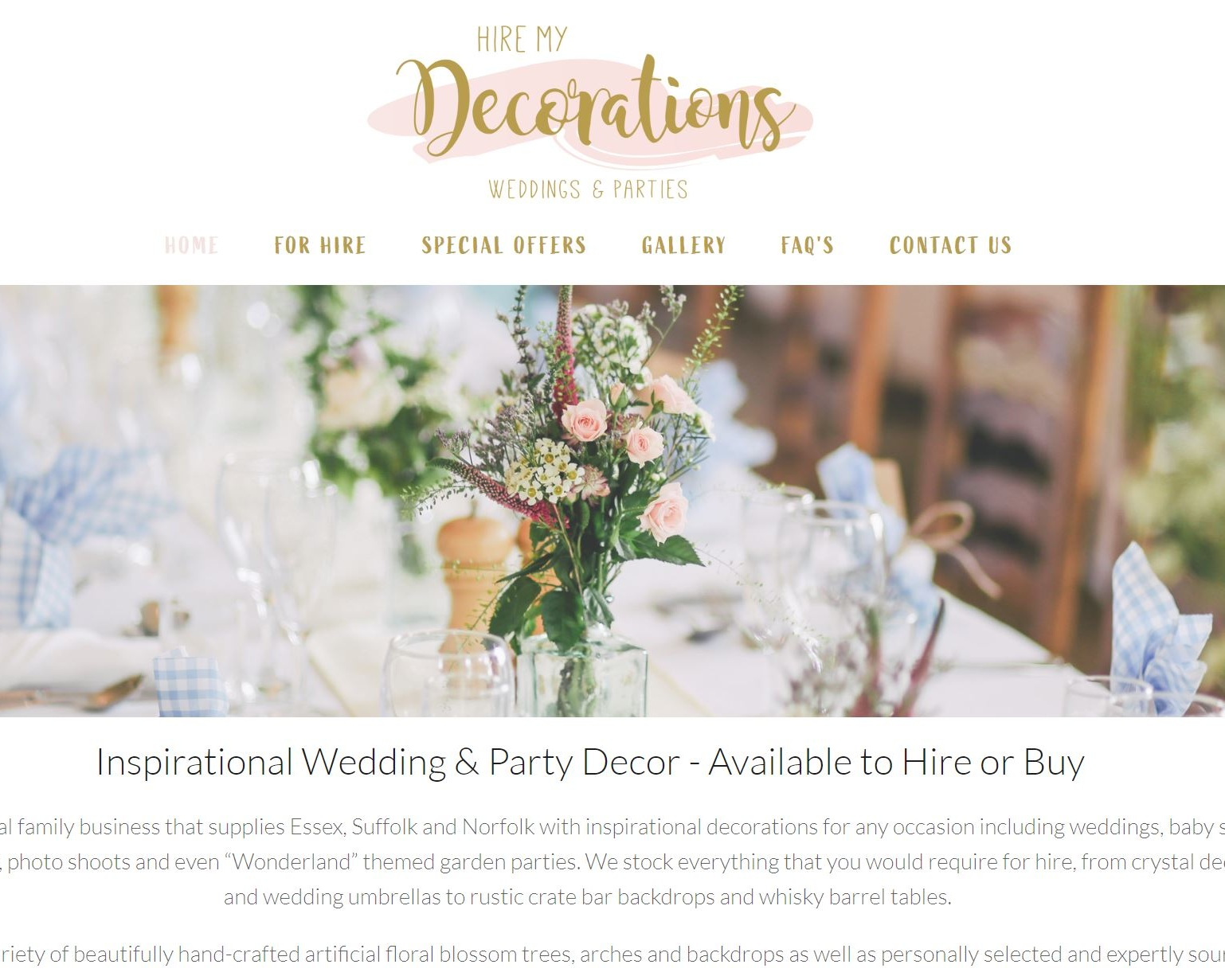 Hire My Decor - Wedding and party supplies for hire covering Essex, Suffolk and Hertfordshire. Including venue dressing, chair covers, centrepieces and sweet carts.