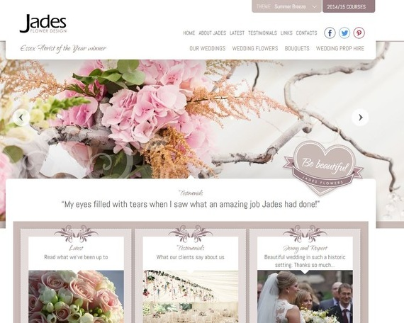 Jades Flowers - Jades Flower Design, creators of luxury wedding flowers for over 25 years. Bespoke designs are created to suit the style of each couple.
