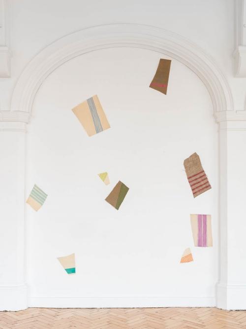 Installation view of Giorgio Griffa: A Continuous Becoming, Camden Arts Centre, 2018. Photo: Mark Blower