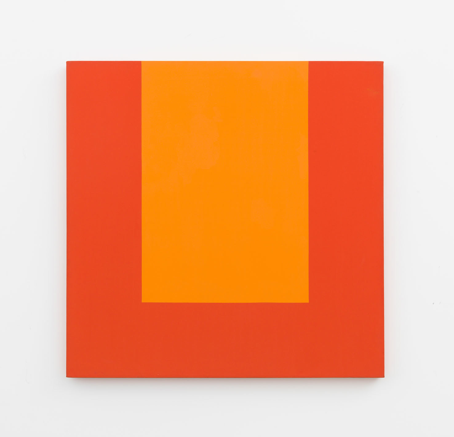 Carmen Herrera ,  Orange & Red,  1989, Acrylic on canvas 109.2 x 106.7 cm / 43 x 42 in