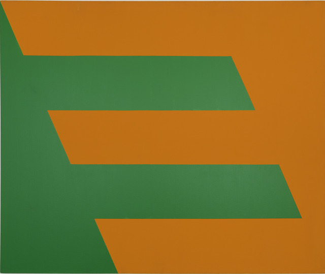 Carmen Herrera,  Green and Orange , 1958, Acrylic on canvas, 60 × 72 in, 152.4 × 182.9 cm