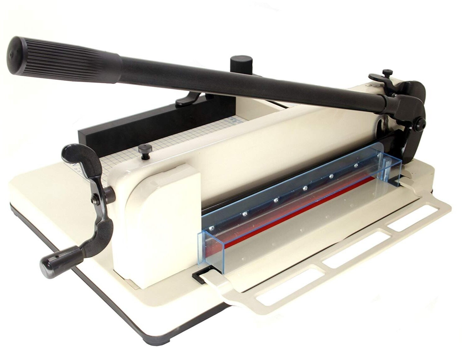 Guillotine paper cutter for up to 400 sheets at a tim