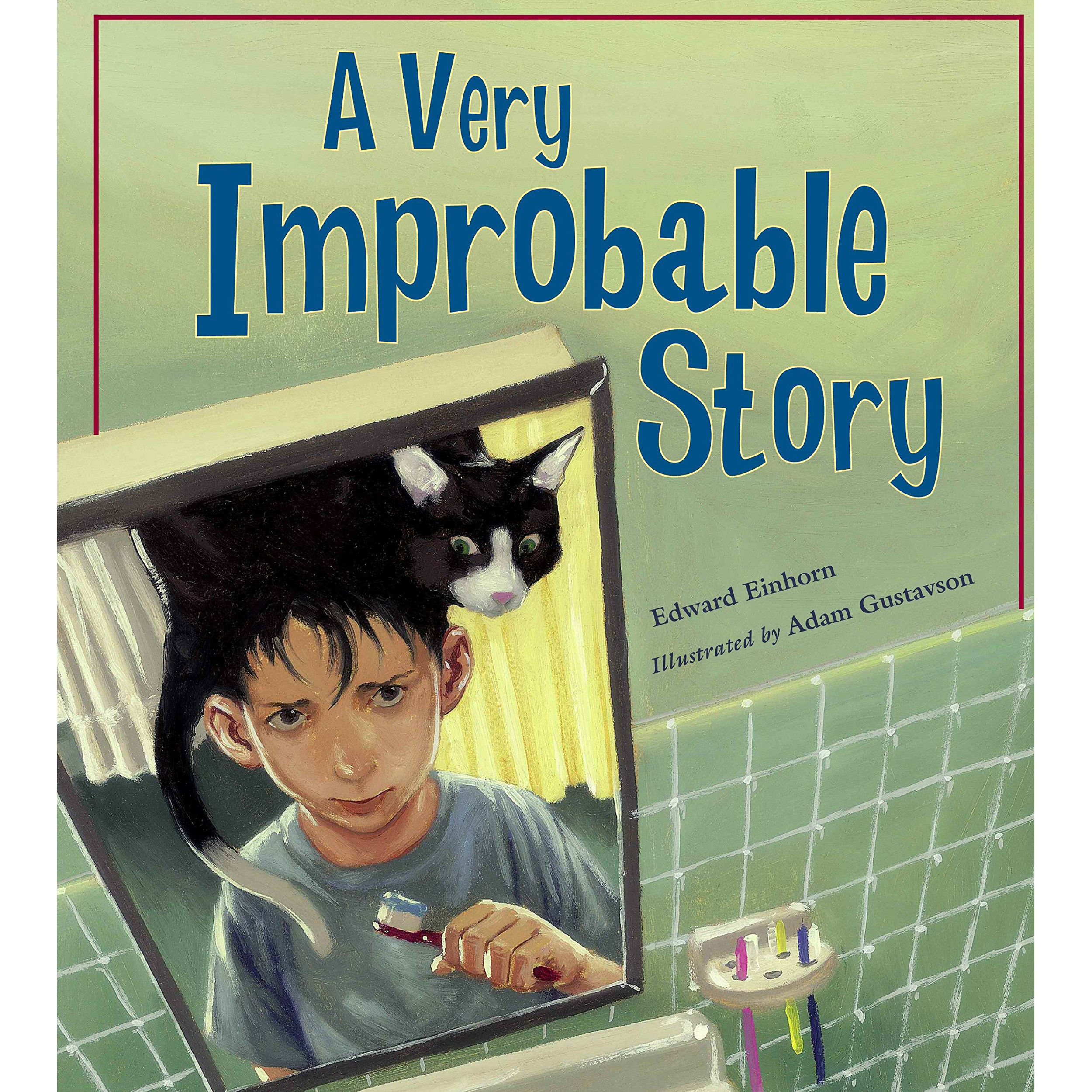A Very Improbable Story - Ethan wakes up one morning to find a very strange cat named Odds stuck on his head. Odds refuses to budge until Ethan wins a game of probability. Without looking, Ethan must pick out a dime from his coin collection or matching socks from his dresser, or do something else improbable. If he doesn't, Odds is there to stay, and Ethan has a 100% chance of missing his big soccer game. A very improbable story about a challenging math concept. Illustrated by Adam Gustavson.