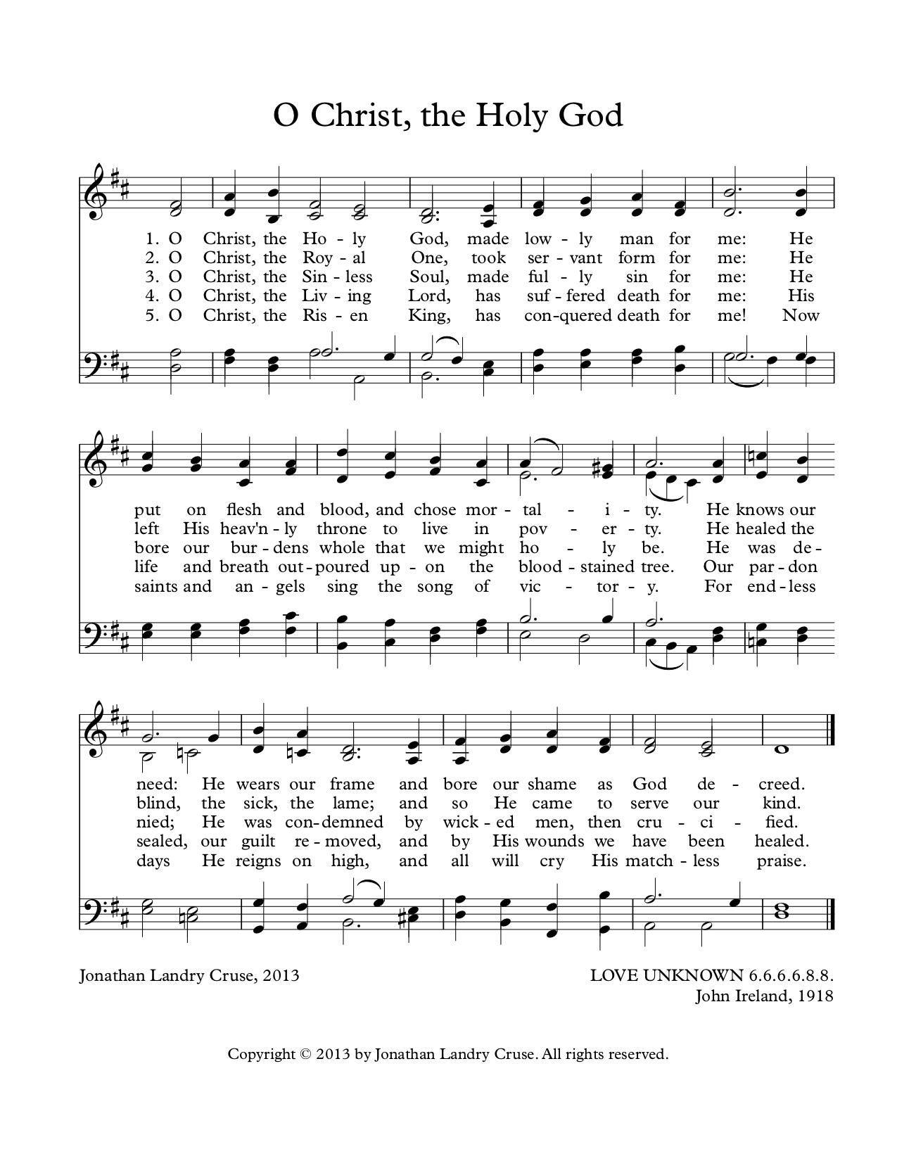 O Christ, the Holy God -