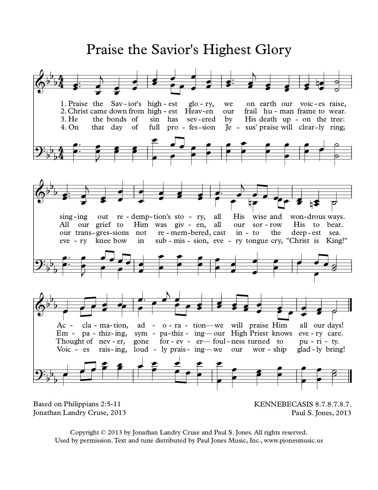 Praise the Savior's Highest Glory -
