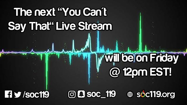 """Every Friday @ 12pm EST, Sam and Jeff will be LIVE on the YouTube Channel for the new podcast connected to Soc 119, """"You Can't Say That."""" The podcast will connect to the topics covered in Soc 119 in addition to whatever the guys want to talk about. Audio versions of the podcast are available on our website & anchor (soon iTunes and Spotify)."""