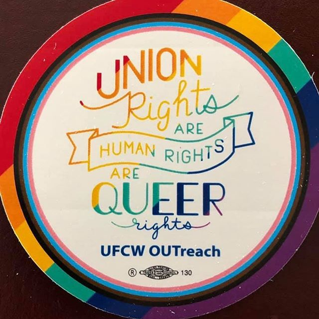 UFCW OUTreach PRIDE sticker for 2019!! Thanks to Ufcw Local 555 in Portland for great design! Available to all Ufcw local Unions for Pride, just message us! ✊🏽🏳️‍🌈✊🏽🏳️‍🌈☀️