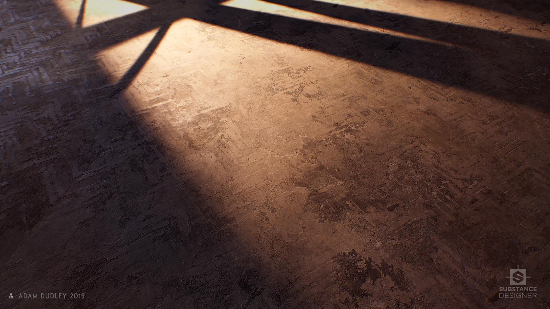 Removed Parquet Concrete Floor