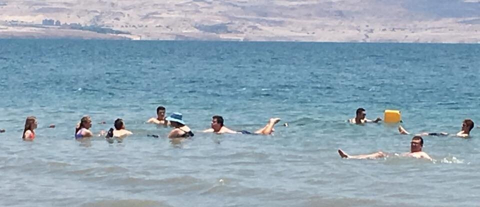 "Our family ""floating"" in the Dead Sea."