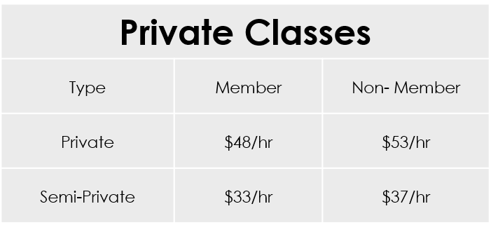 Class price is on a per person basis. There is a 5-class minimum purchase required. Additional discounts can be gained by purchasing 20 or 30-class packages.