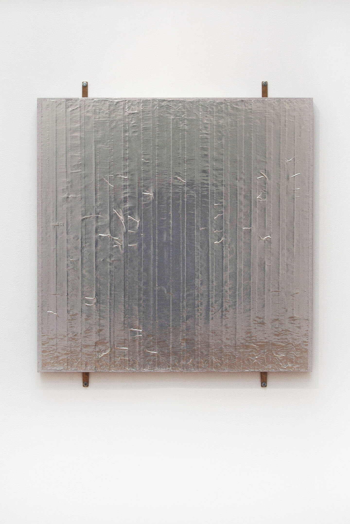 Boy Tears,  2019, aluminum tape on canvas over panel, Oz clips, 40 x 36 inches.