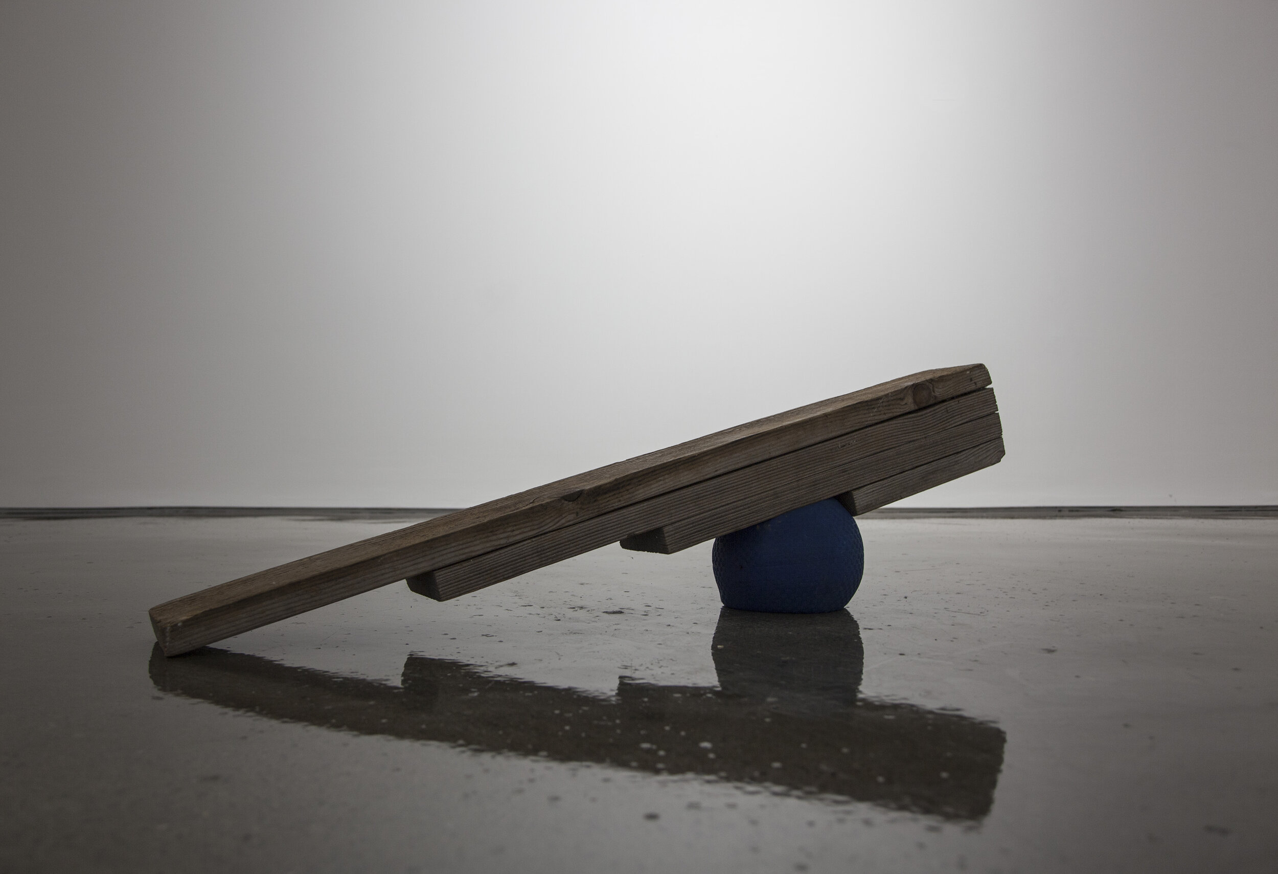 Pressured Ball , 2014, wood, ball, air, 50 x 0 x 12 inches.