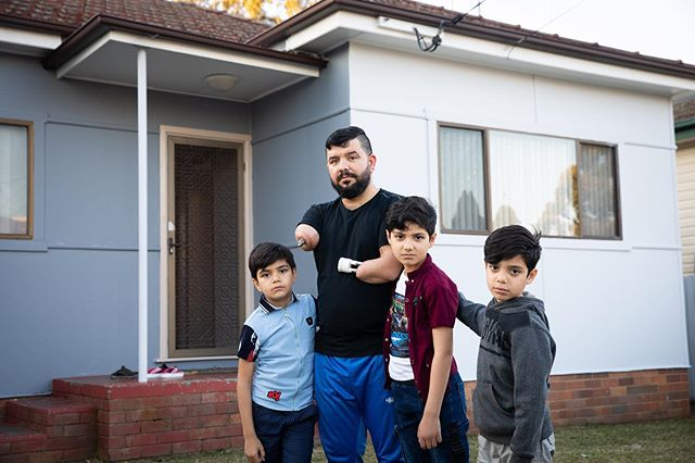 Ghanim Al Shnen refugee who lost both his arms in a workplace accident in Sydney. Picture at home with his boys who he will be separated from as they have been grant asylum in Finland. Picture by Renee Nowytarger for The Sydney Morning Herald copyright SMH  #photographer # photography #portrait #photojournalist #canon #ilovetakingphotos #media #photos #world_photography #picturetellsathousandwords #photosofaustralia #corporatephotography #corporatephotographer #newsphotographer #photojournalism #photographersofaustralia # photosoftheday # photocommunity #photographers.team #streetphotography #streetphotographer #portraitphotography #walkleyawardwinner  Renee Nowytarger Photography CORPORATE | PORTRAIT | EDITORIAL www.reneenowytarger.com @reneenowytarger.com