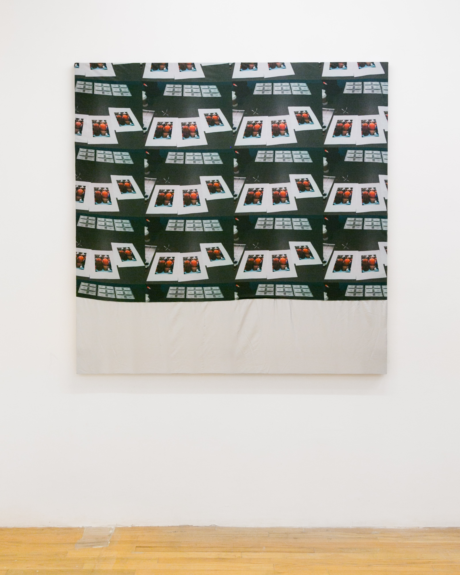 Laura Hunt,  Untitled , 2018, custom printed cotton and altered motorcycle cover with hand-sewing, 48 x 48 inches.