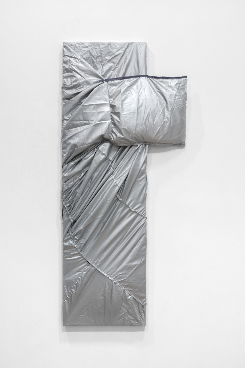 Laura Hunt,  Untitled , 2018, nylon, hand-sewn and stretched, 60 x 29.5 inches.