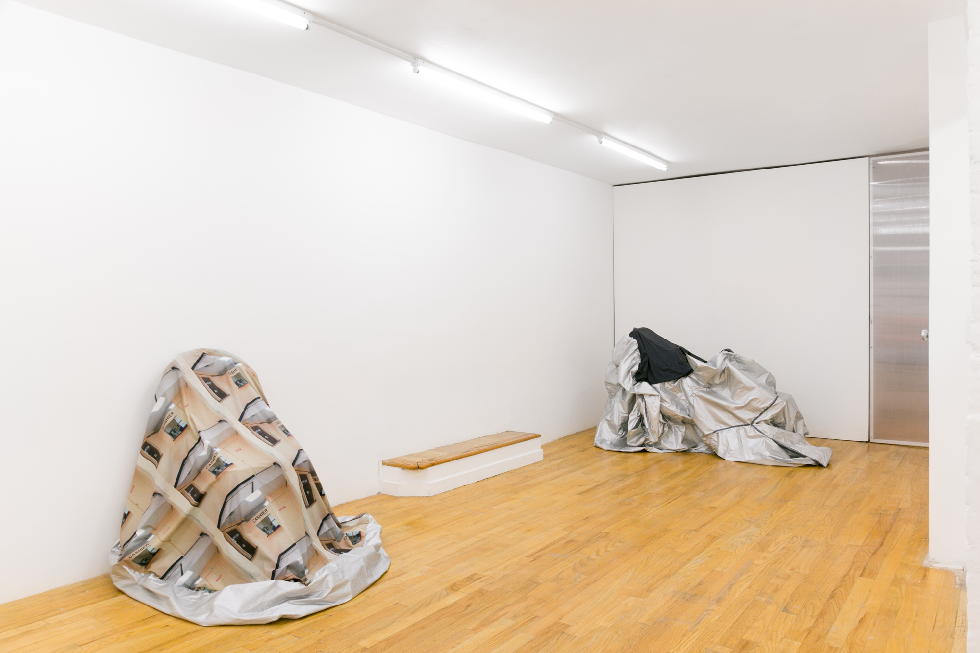 Installation view, Laura Hunt,  Motorcycle Covers , 2018, 321 Gallery, Brooklyn, NY.