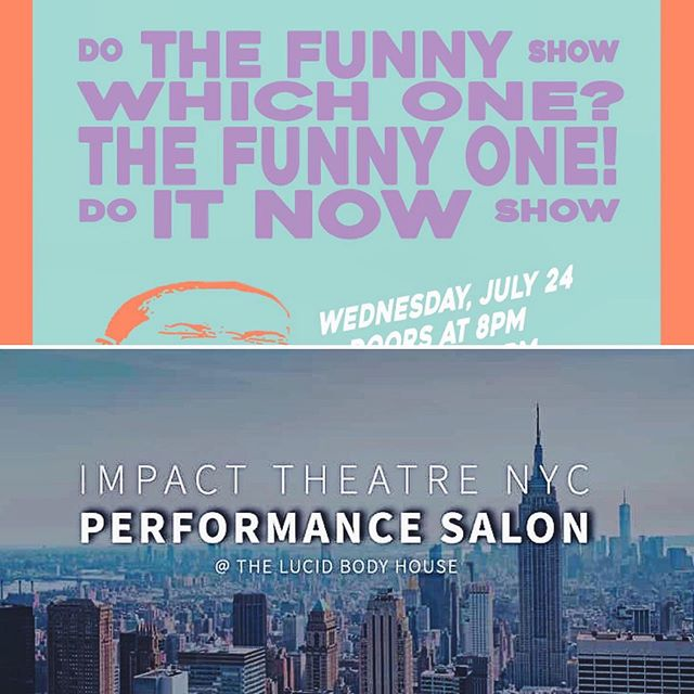 I'm performing some original comedy twice next week! Come out to @gertienyc to see the inaugural clown cabaret curated by @michael_galligan on 7/24  OR Come see me @thelucidbody in a salon curated by @aniaupstill on 7/26! Dm me if you need more details  #actorslife #newcomedy #nycactor