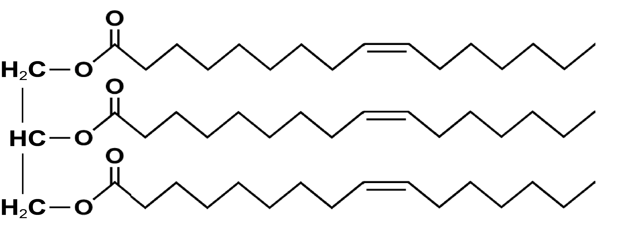 Chemical Structure of Palmitoleic Acid in Triglyceride (TG) Form