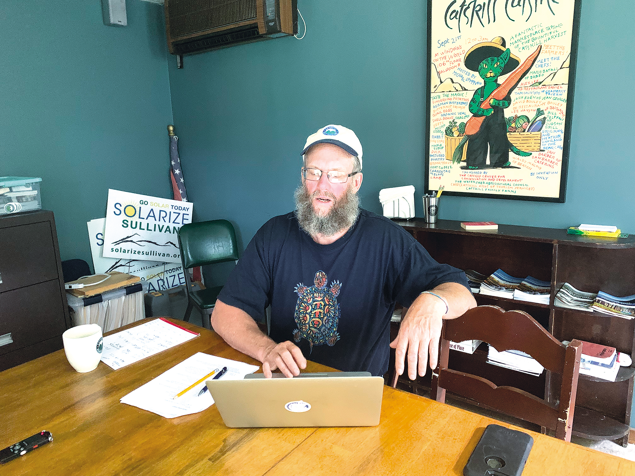 FAR-REACHING : Wes Gillingham, Catskill Mountainkeeper's associate director, spoke about the Climate Leadership and Community Protection Act in his offices in Livingston Manor.  Osei Helper photo
