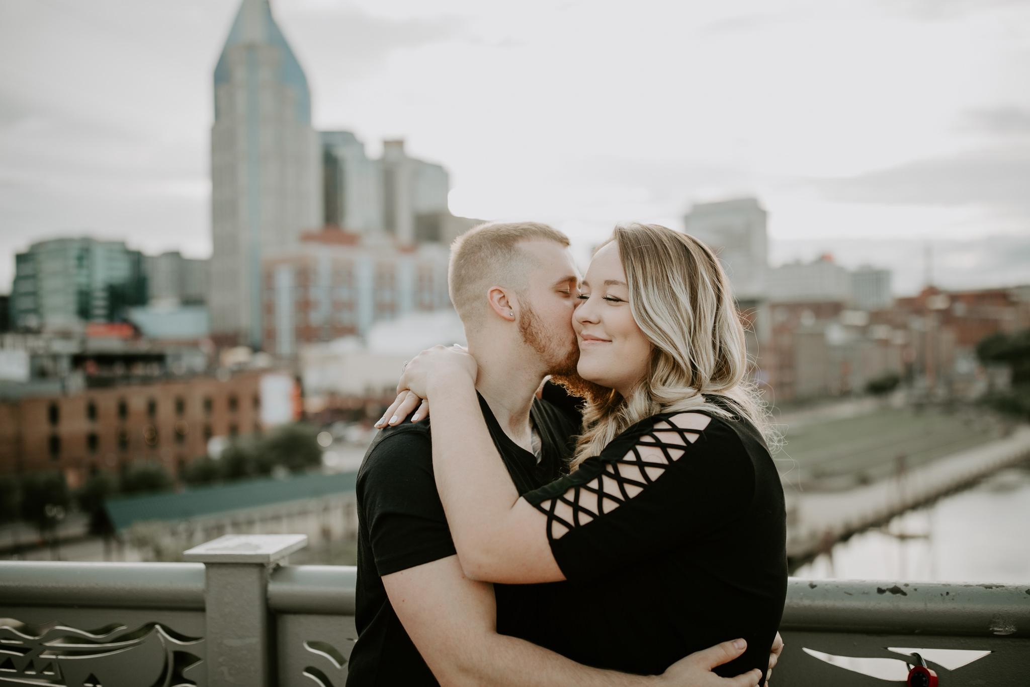 Engagement Session in Downtown Nashville Pedestrian Bridge