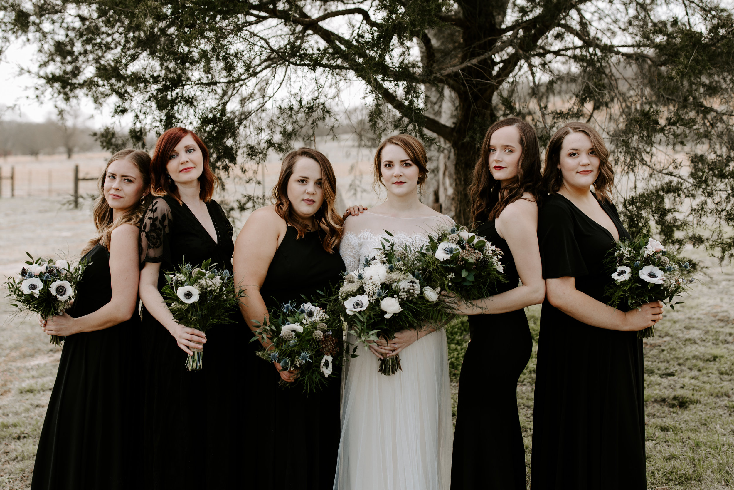 Moody Black Bridesmaids Dresses