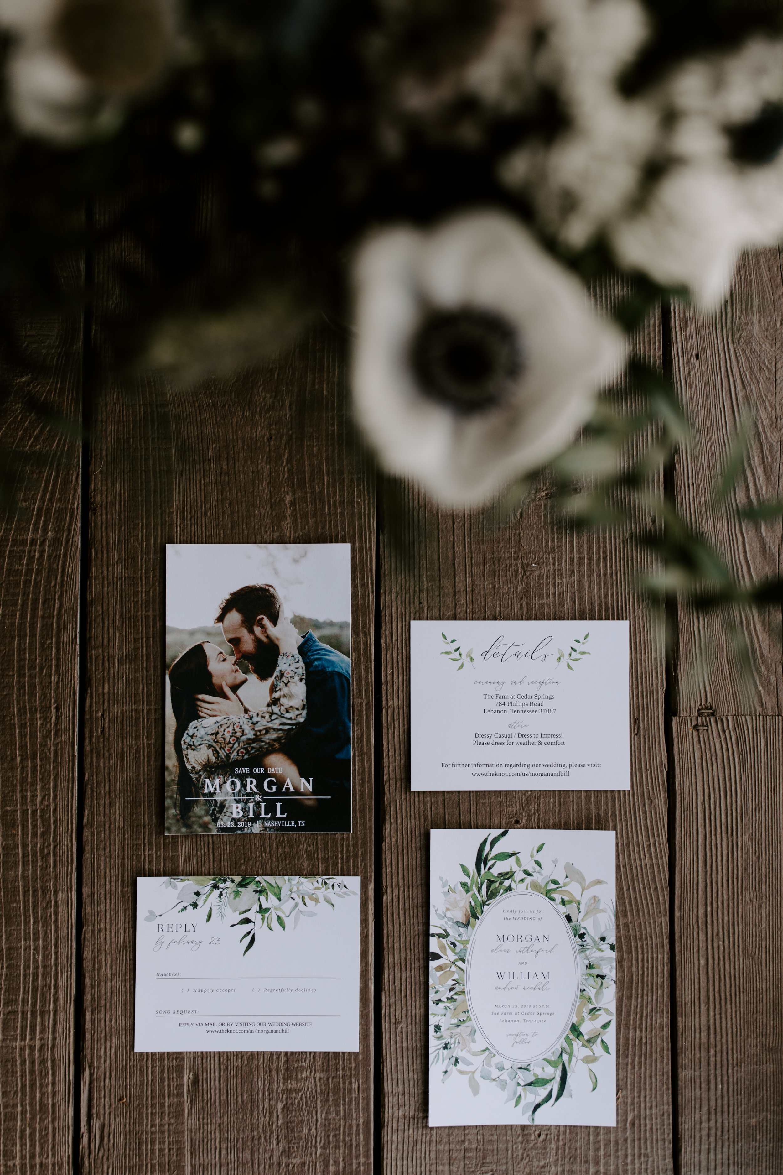 Invitation Suite Flatlay From Moody and edgy wedding in Nashville, TN