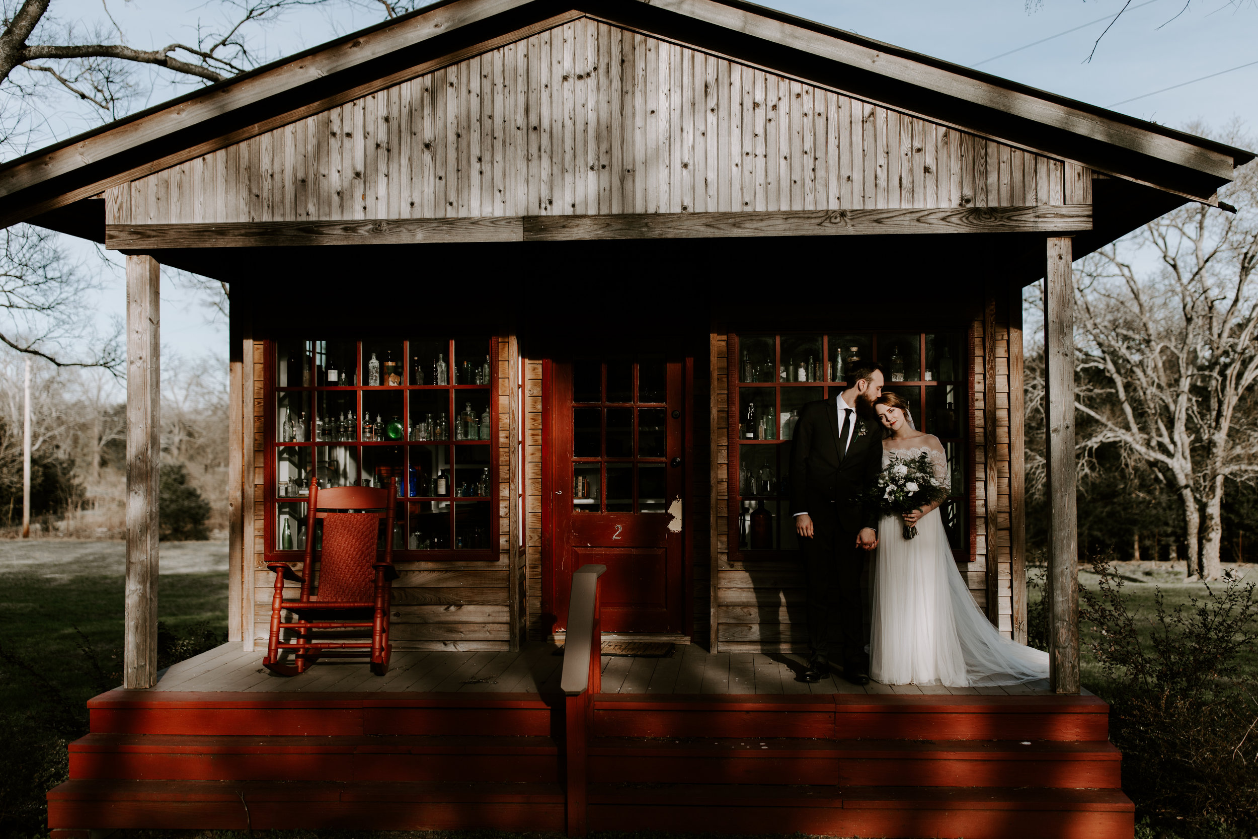 Moody and Edgy Rustic Wedding Bride and Groom portraits