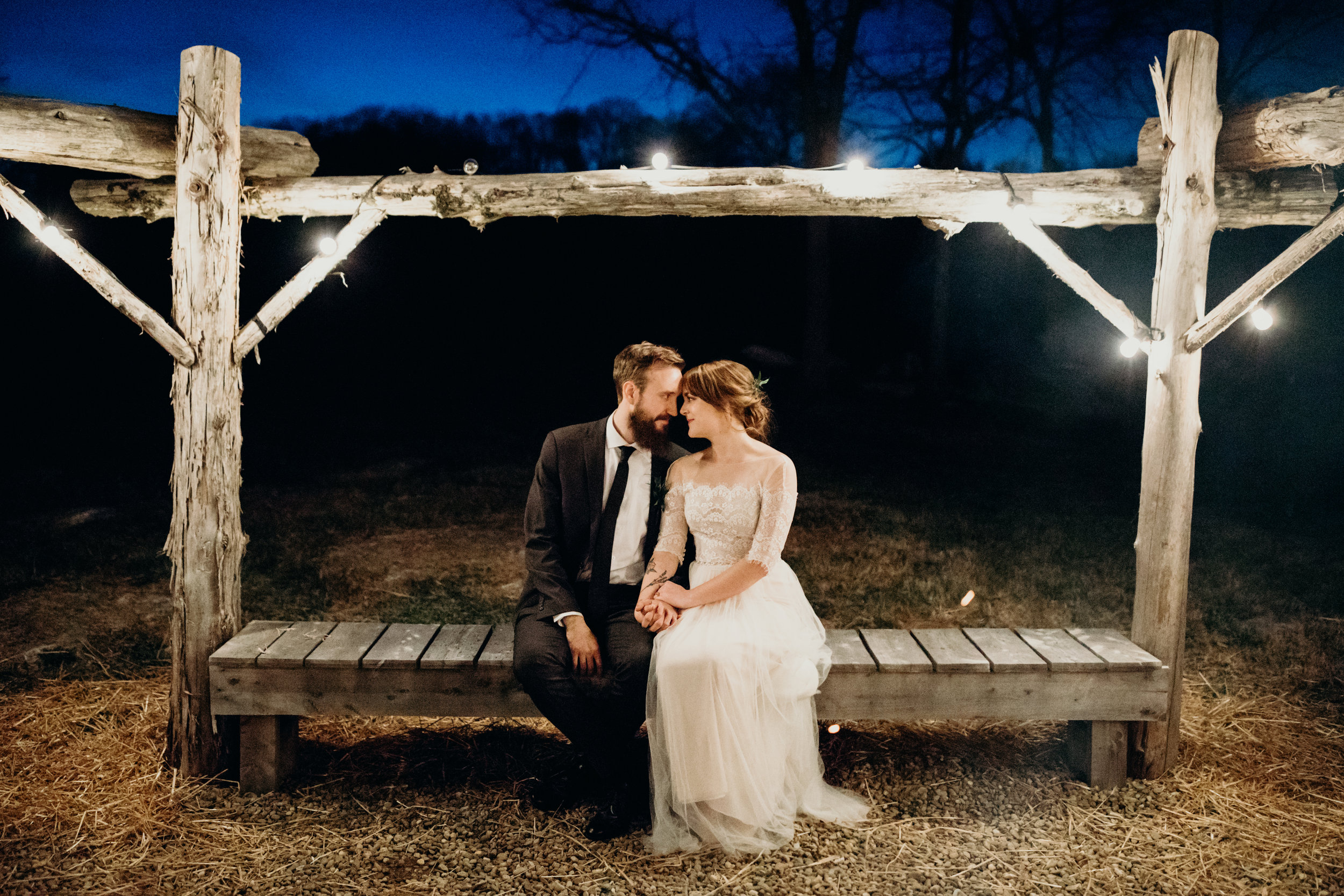 Bride and Groom Night Portrait after reception