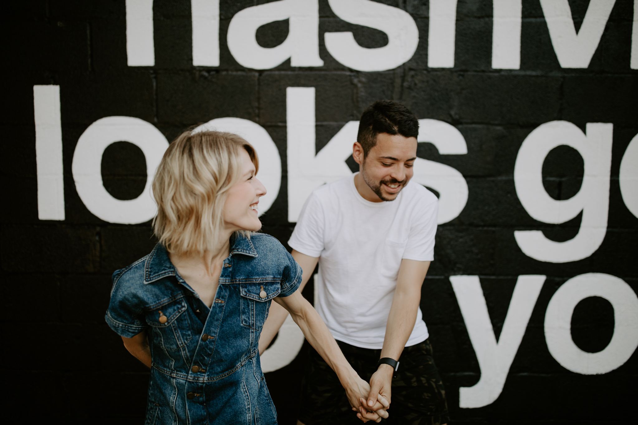 Fun and energetic mural couples session in Nashville, Tennessee