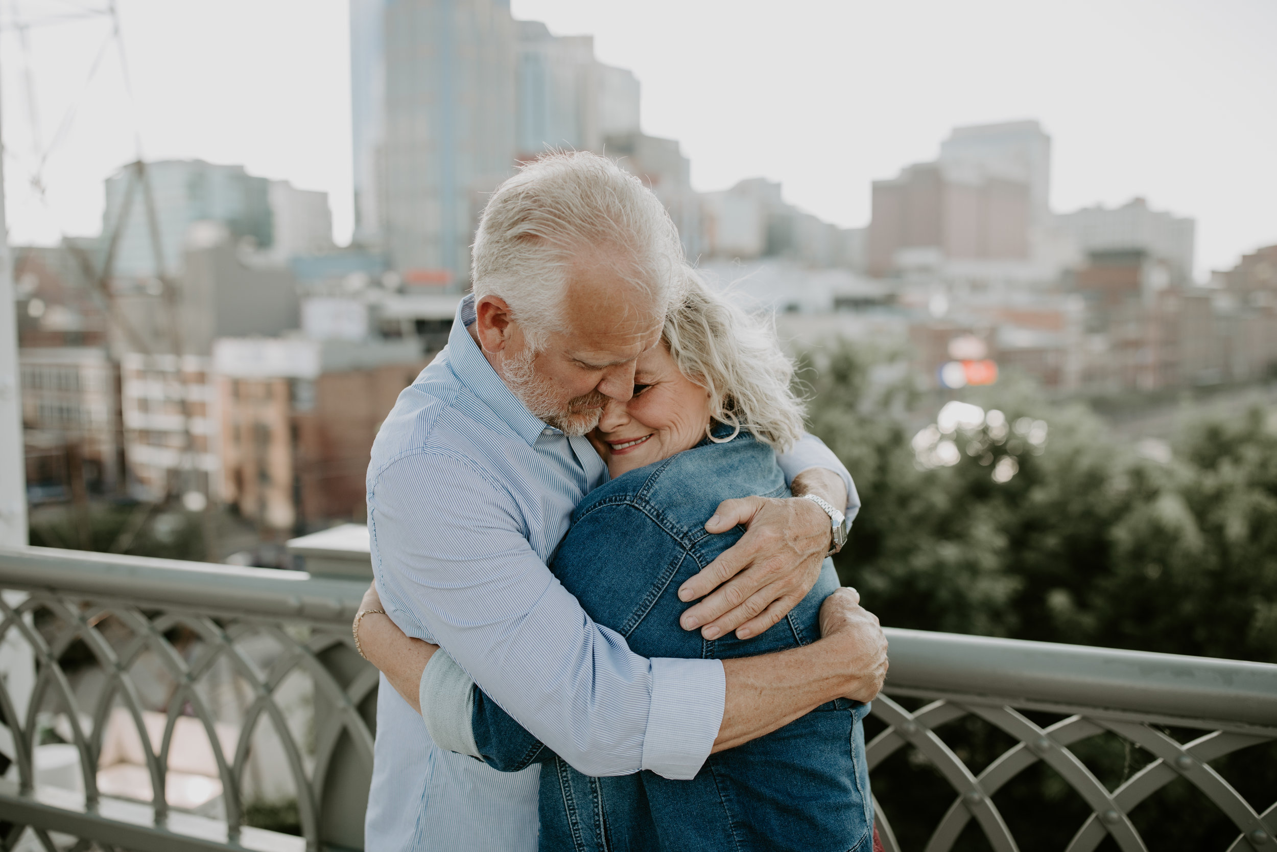Couples Session with older couple at Pedestrian Bridge in Downtown, Nashville