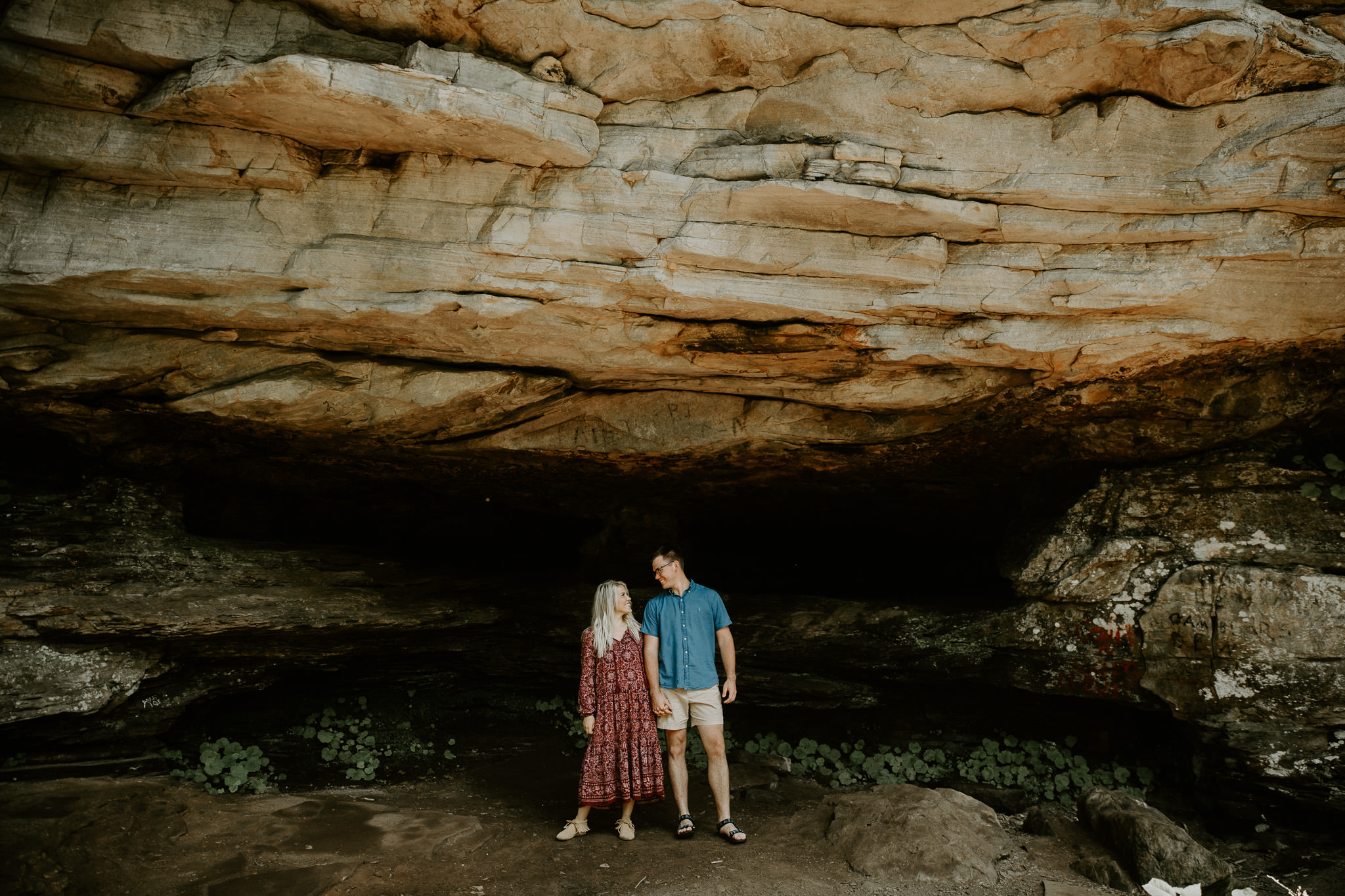Adventure Engagement Session in Mountains and Rocks in Tennessee