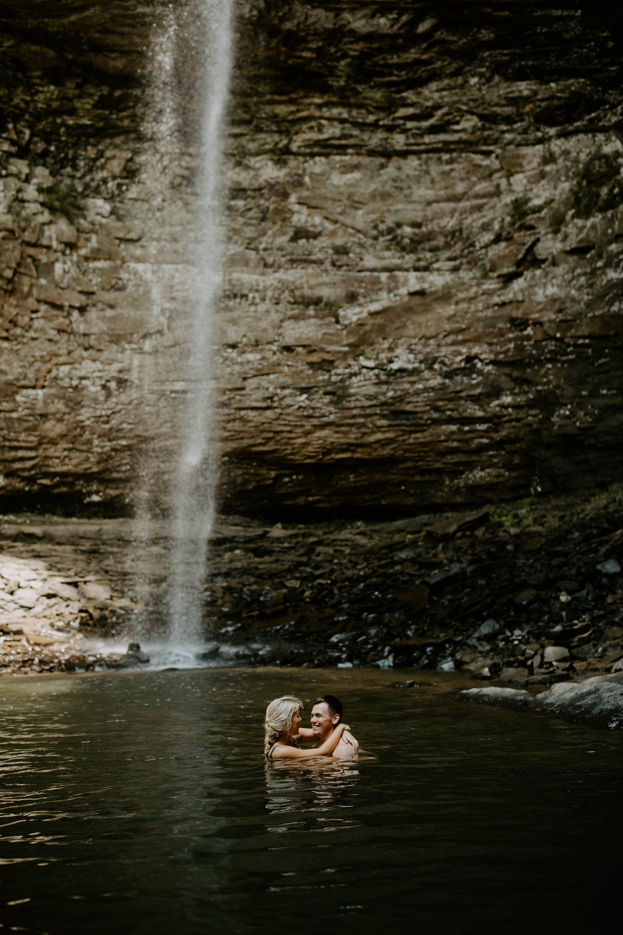 Adventure Lake Engagement Session at Waterfalls in Tennessee