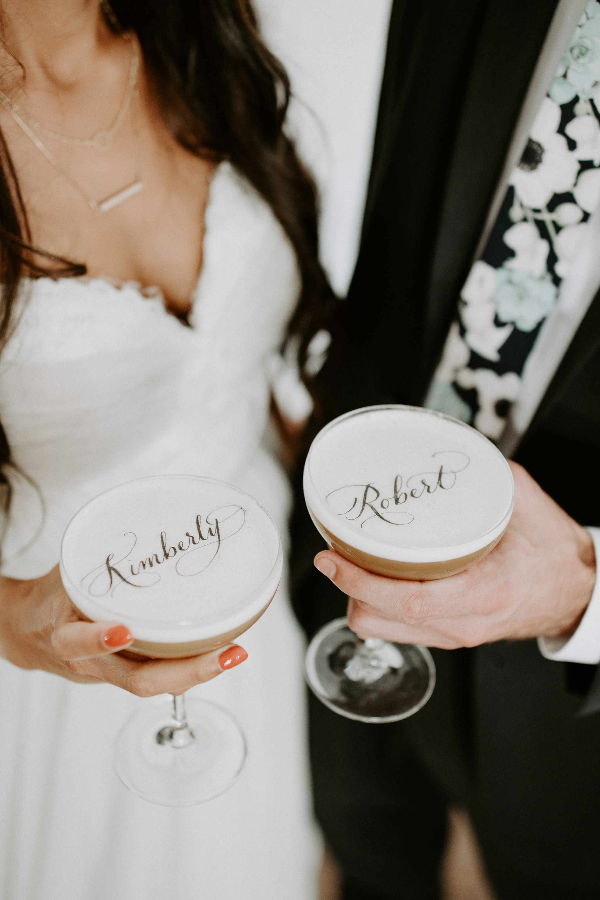 Bride and groom cocktail name holders