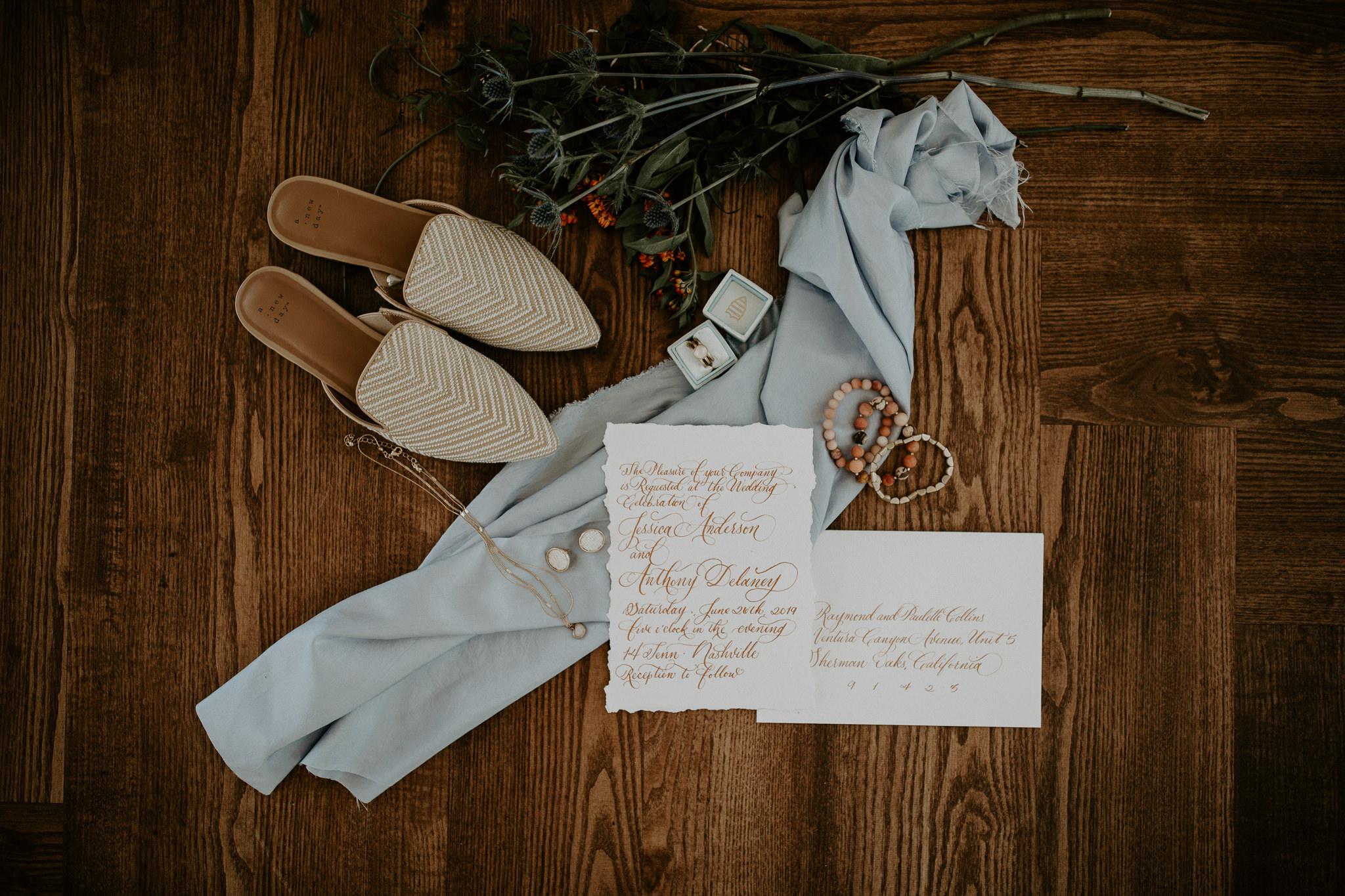 Wedding vows flat lay