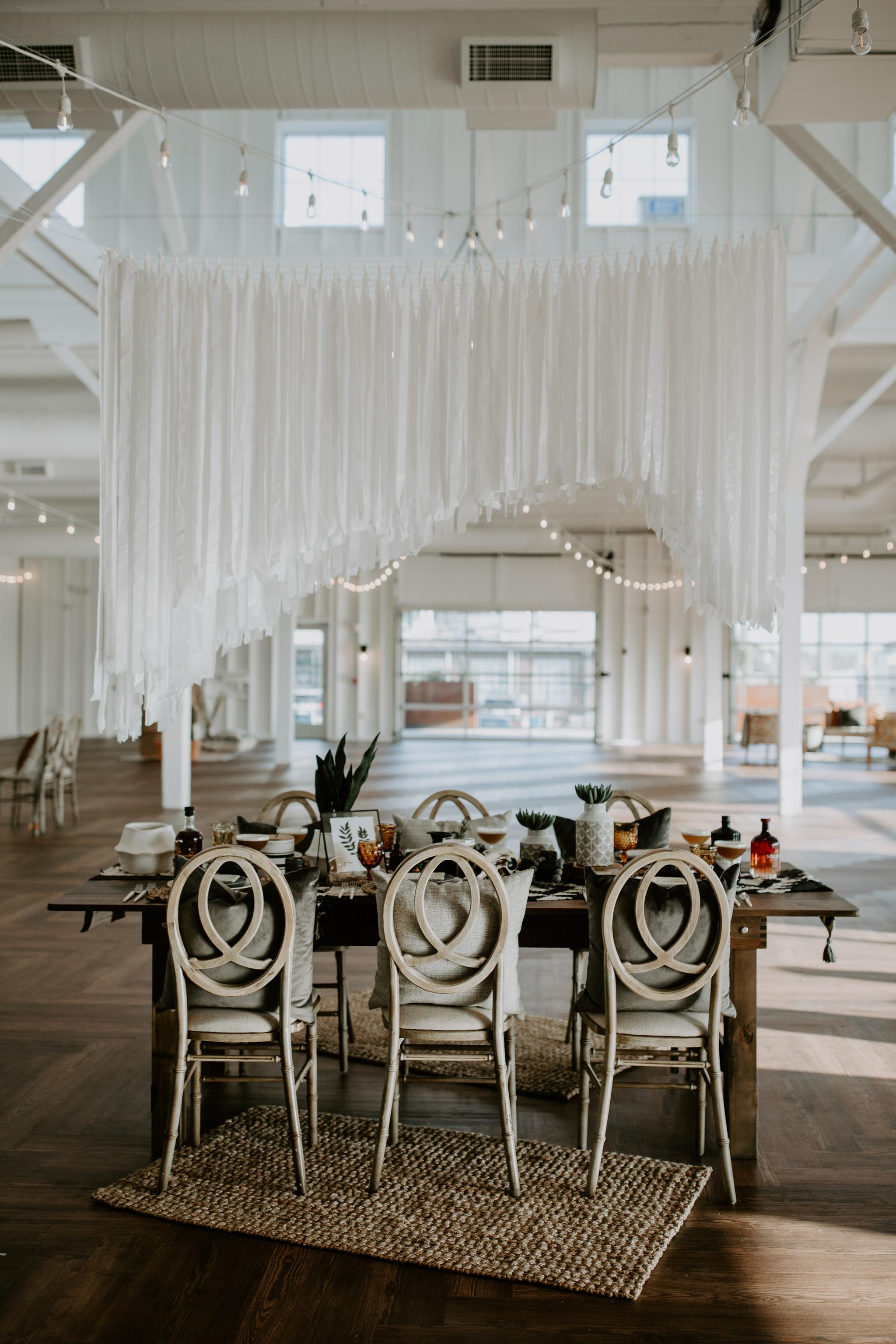 Modern DIY wedding decor hanging installation