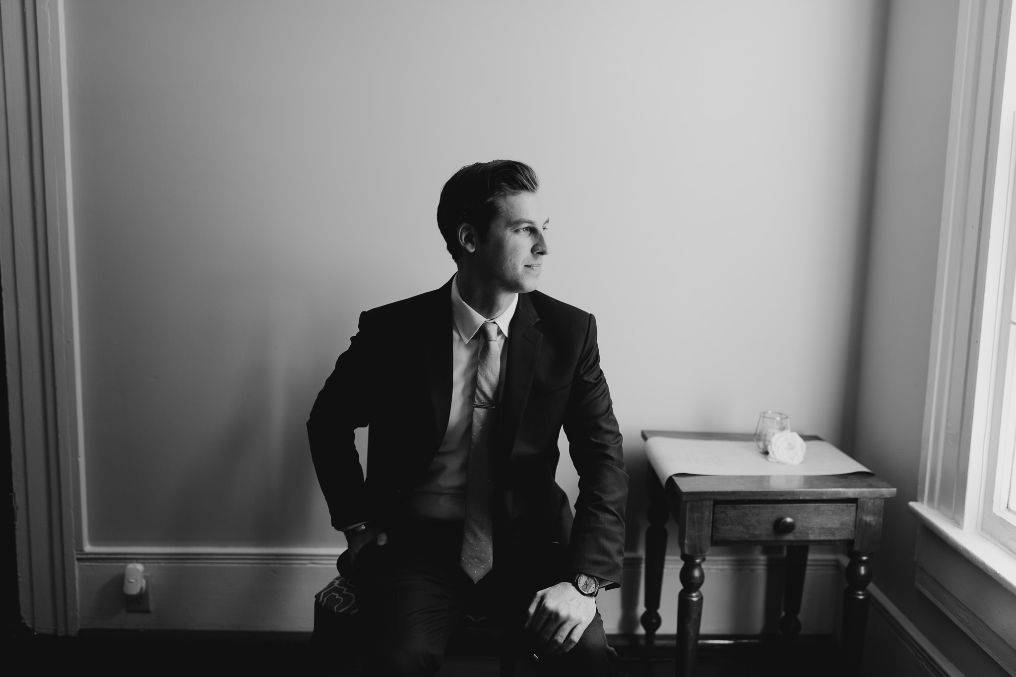 Groom portrait at Cool Springs House in Brentwood Tennessee