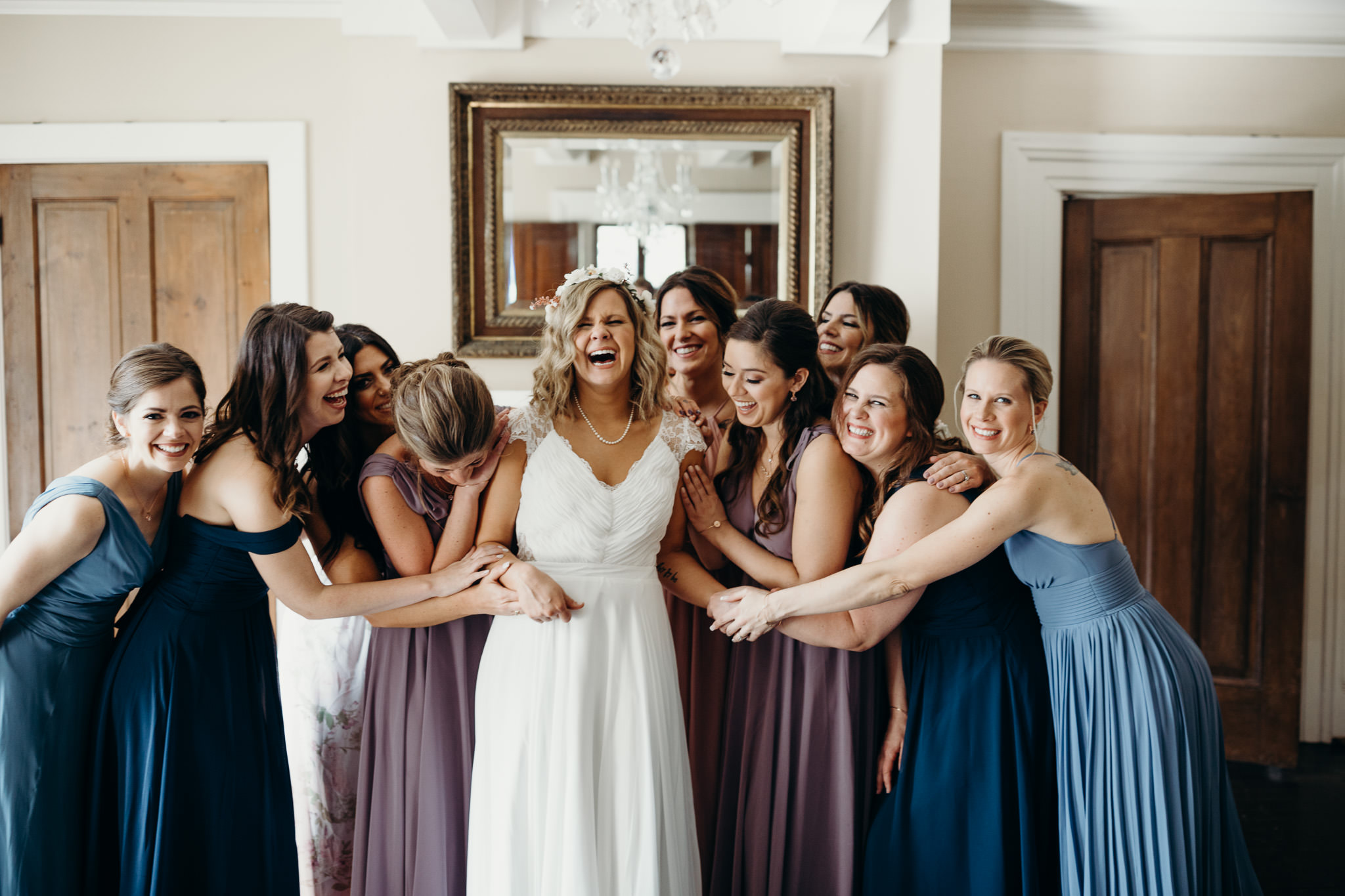 Pastel and Spring Colors bridesmaids dresses at Mansion wedding at The Cool Springs House in Brentwood, Tennessee