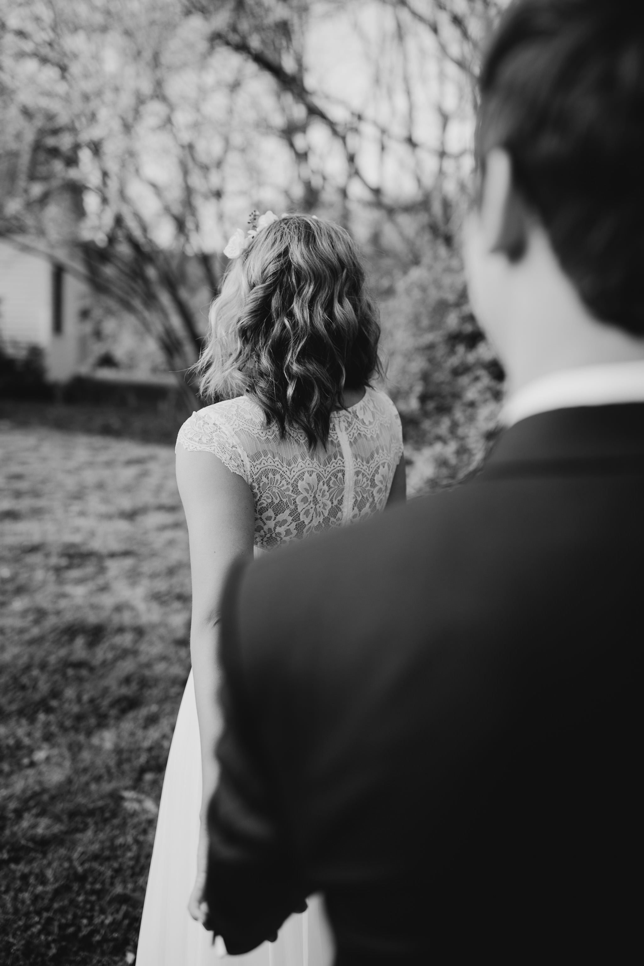 Intimate and romantic bride and groom portrait