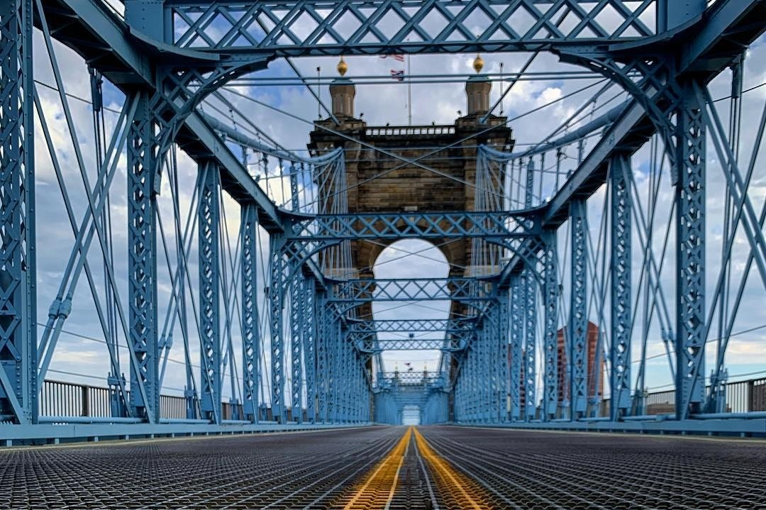 """Drive across the historic  John A. Roebling Suspension Bridge  to hear why it's nicknamed the """"The Singing Bridge."""""""