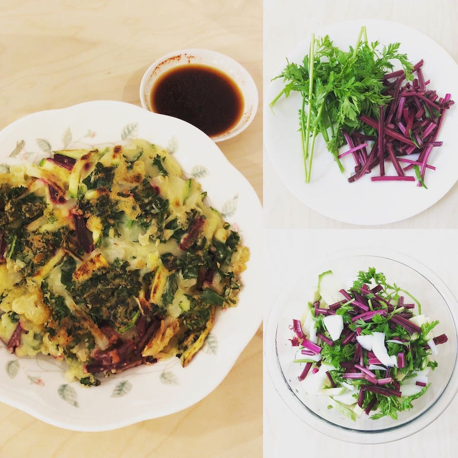 Here is a vegan Korean vegetable pancake I made using unconventional ingredients including carrot leaves and beet stems. Click on the image to see the recipe on the Minnieveggie Instagram.