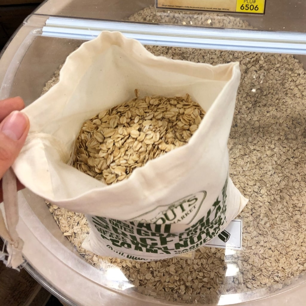 Bulk purchase options are eco-friendly and cost-efficient only if the food is non-perishable, such as this oatmeal.
