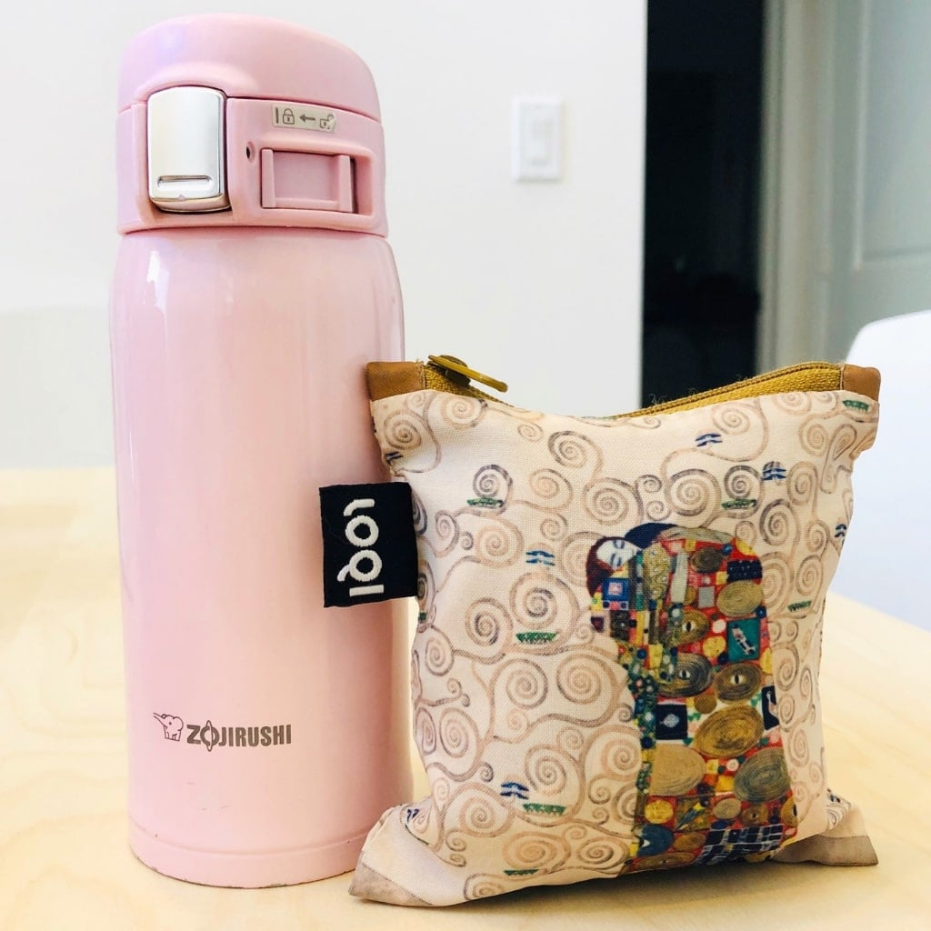 My Zojirushi thermos and LOQI reusable bag are small enough to fit in my purse and I carry them everywhere with me. Did I mention that the LOQI bag can hold up to 44lbs?