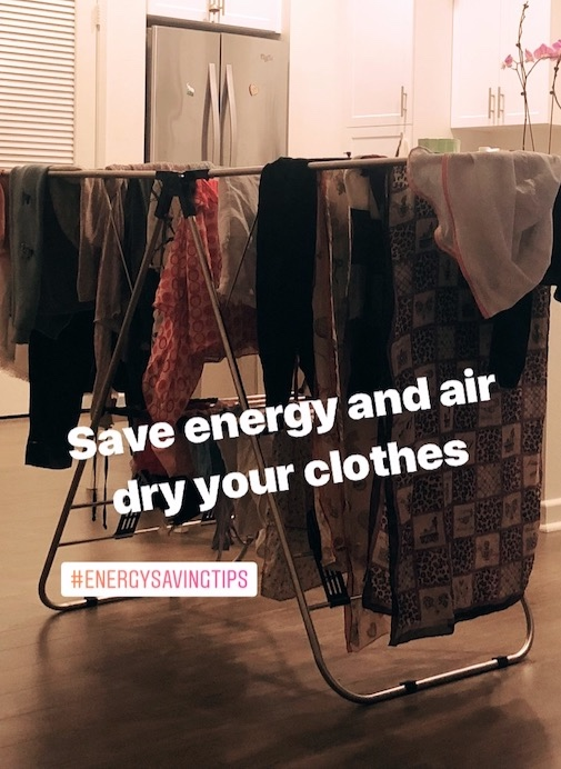 I run my laundry in the evening and air dry my clothes overnight (Post from my Minnieveggie Instagram stories).