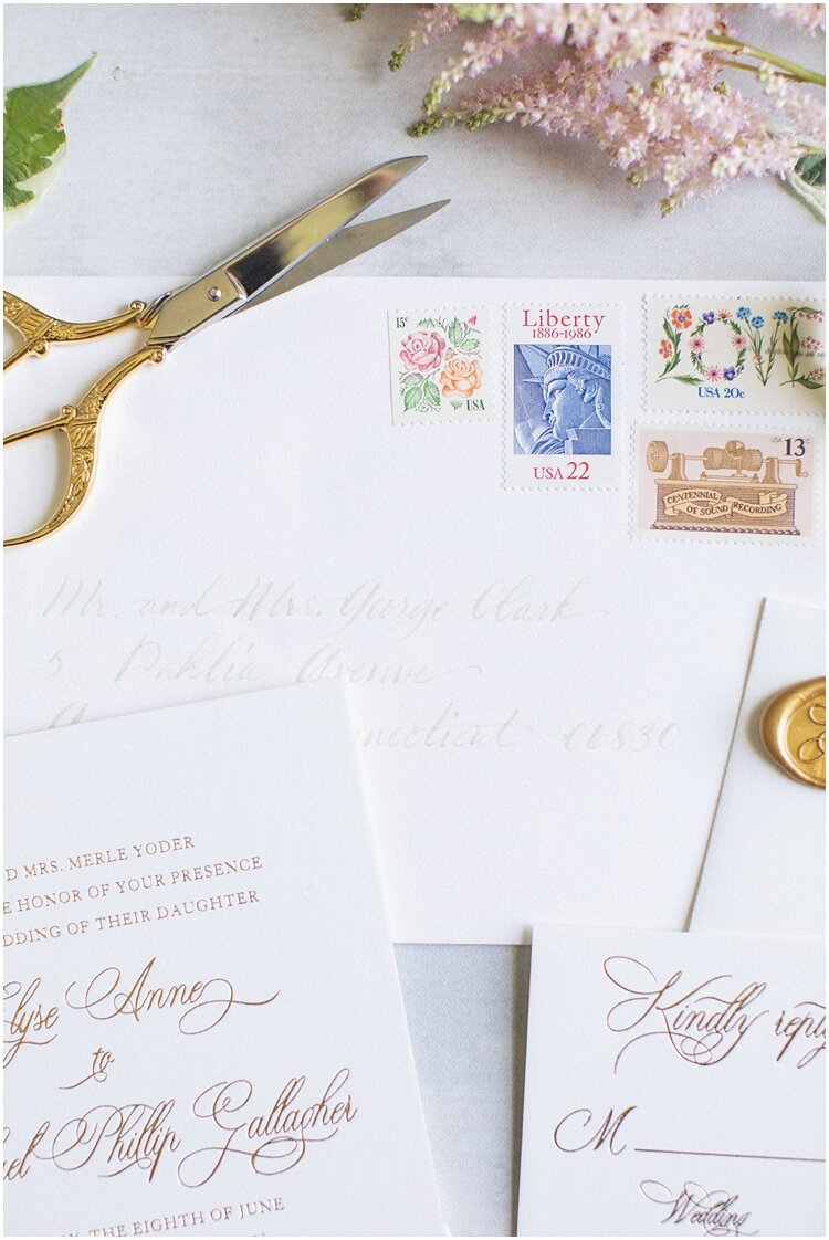 Greenwich Country Club Custom Wedding Invtation Postage.jpg