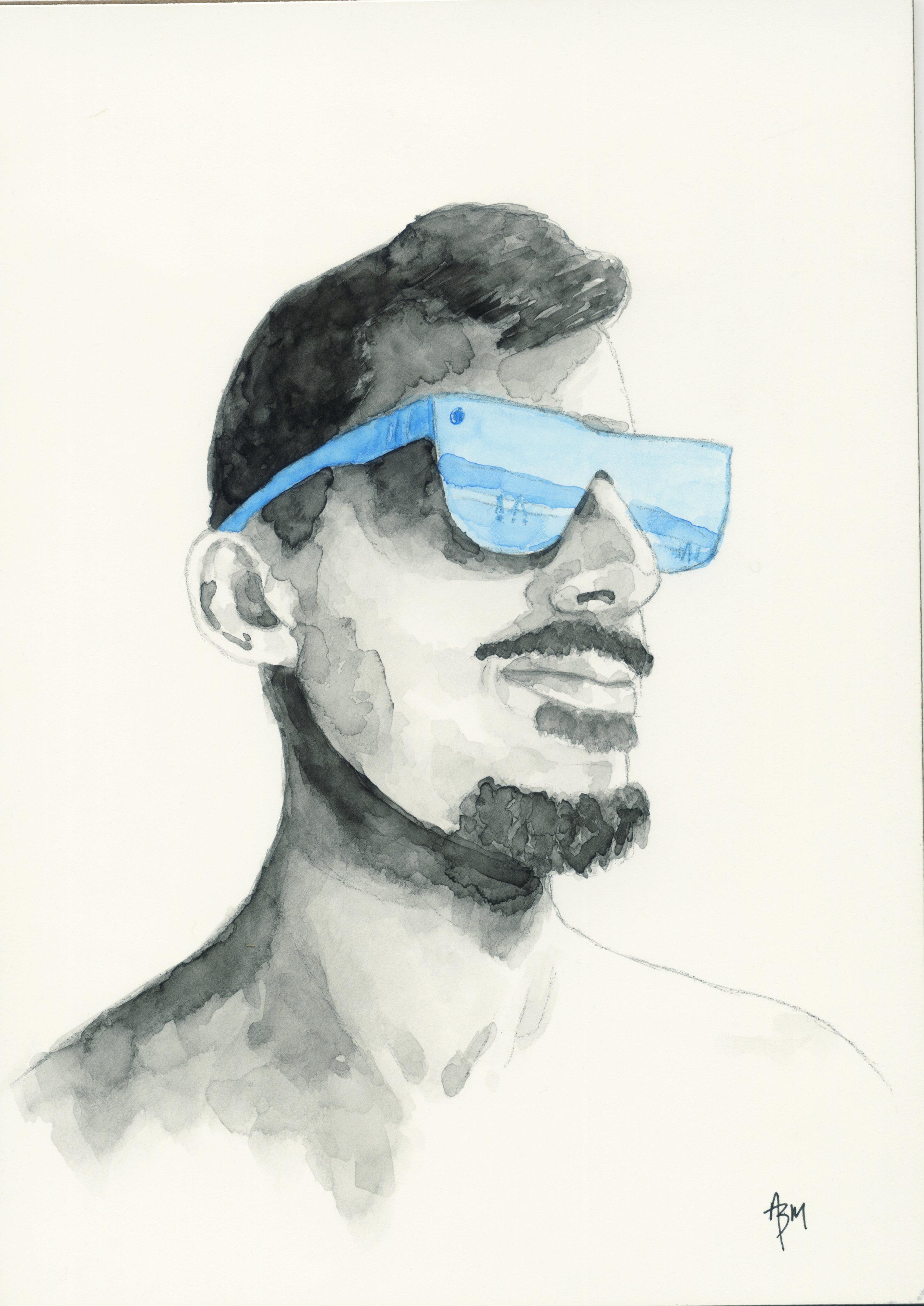 Blue Sunglasses - Watercolor on Clayboard