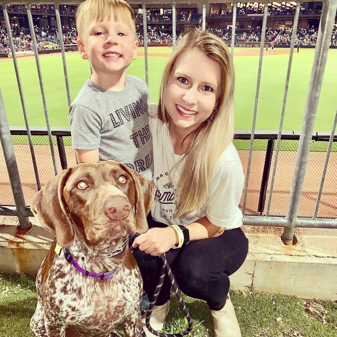 Kaitlyn pictured with her son, Bennett, and dog, Kennedy.
