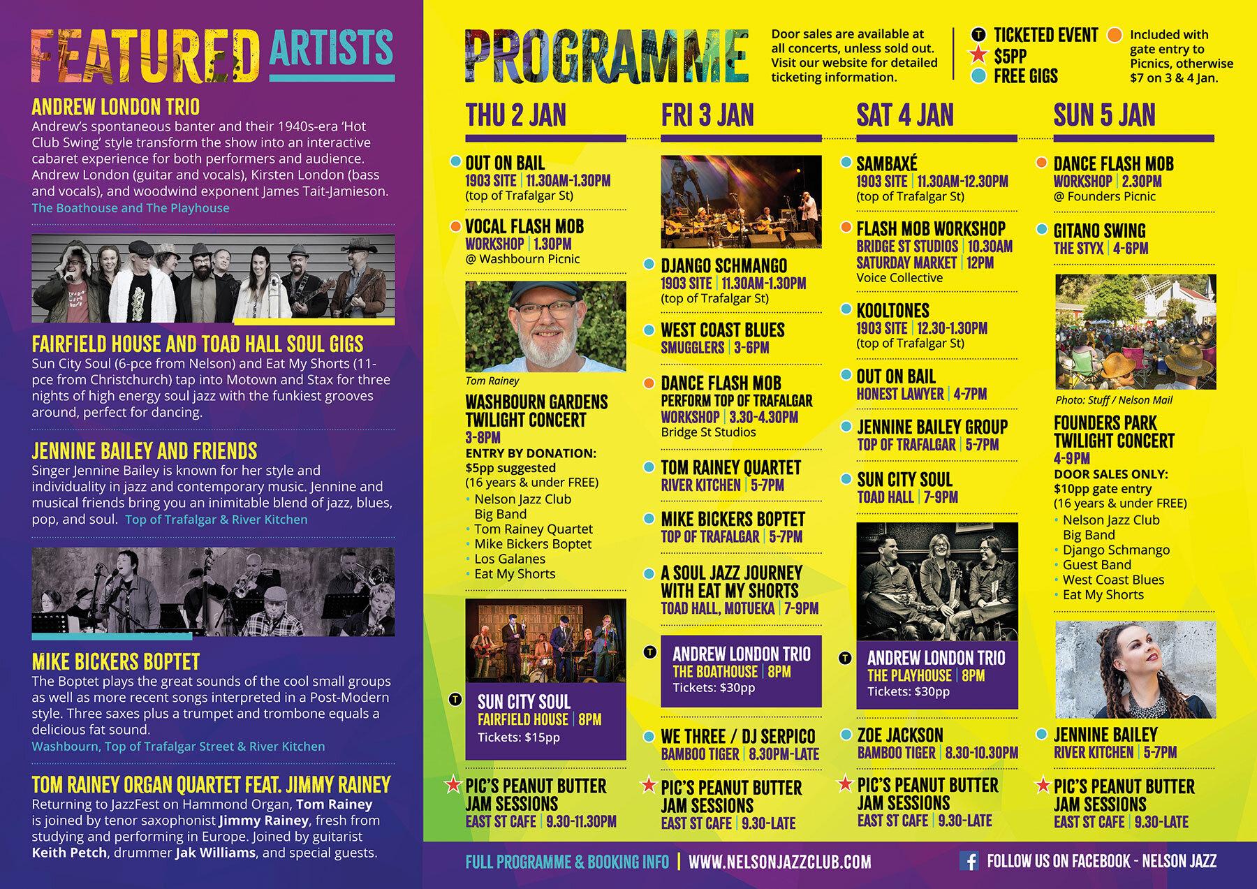 No Jazz Fest >> Full Programme Nelson Jazz Club