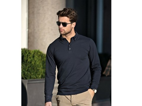 Man Wearing Long Sleeve Polo Shirt